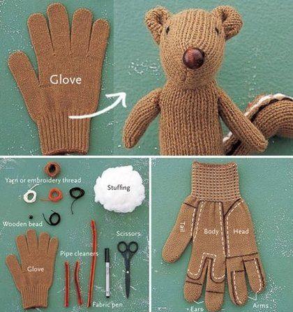 diy, glove, recycling, squirrel