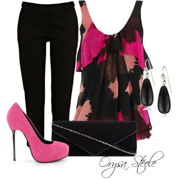 """Pink Lady"" by orysa on Polyvore: Pink Zebra, Pink Lady, Fashion Ideas, Design Clothing, Fashion Outfits, Cute Outfits, High Heels, Dreams Wardrobes, Black Pants"