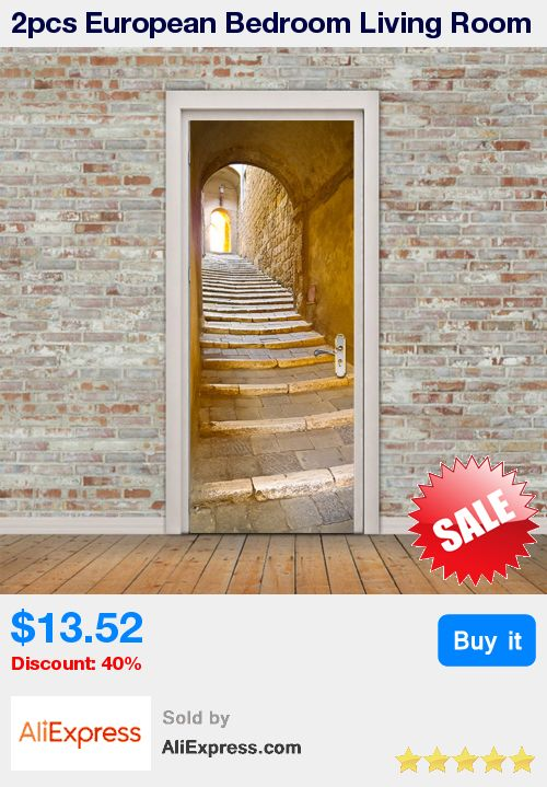 2pcs European Bedroom Living Room Gate Stickers Decor PVC Stone Staircase Door Stickers Wallpaper DIY Home Decor * Pub Date: 01:49 Aug 13 2017