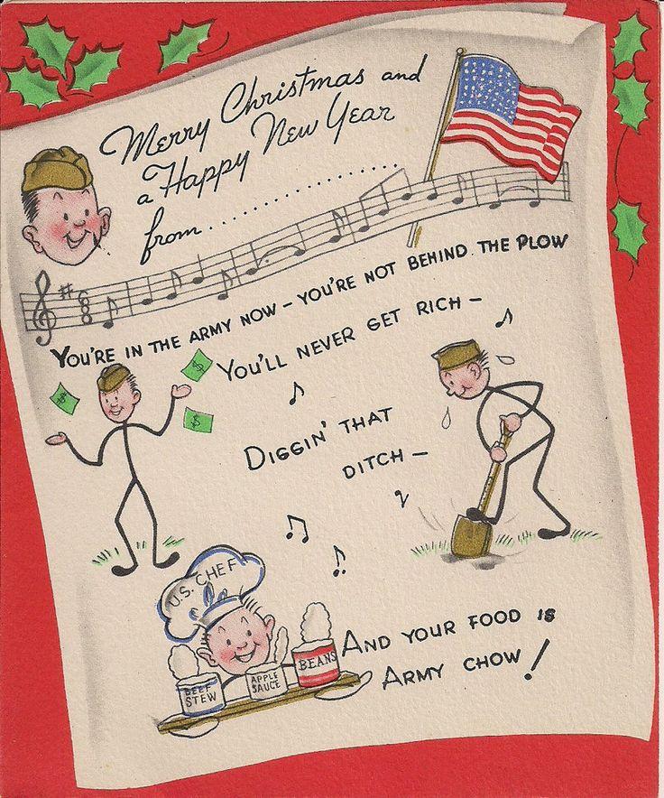 VINTAGE WORLD WAR II PATRIOTIC GREETING CARD - MERRY CHRISTMAS SOLDIER