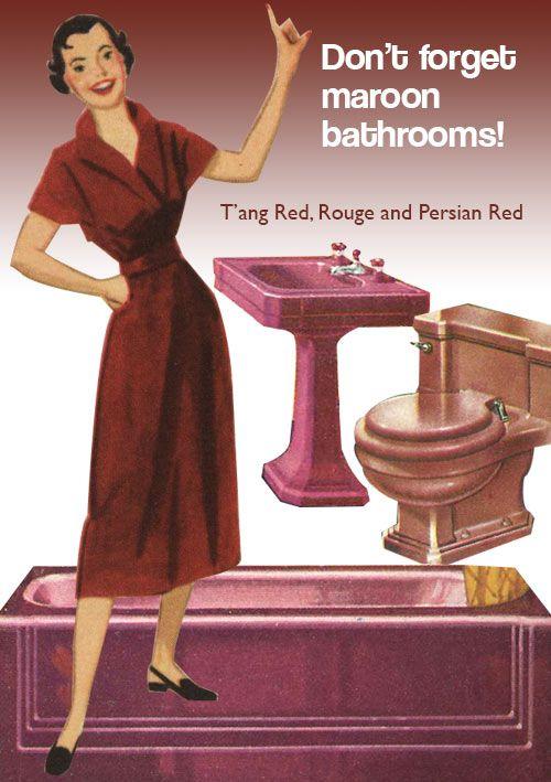 vintage burgundy bathroom