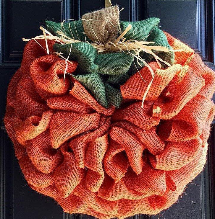 Pumpkin burlap wreath fall wreath thanksgiving by Trumpettes