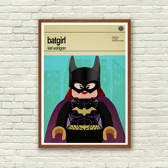 This is a stylish poster print of the Lego Marvel Super Hero Batgirl, fit to grace any man cave or children's bedroom. Hand drawn with a graphics tablet and pen this print is styled with typography and features the actor who voiced Batgirl in the Lego Marvel Super Heroes game and the Lego Super Hero abilities.