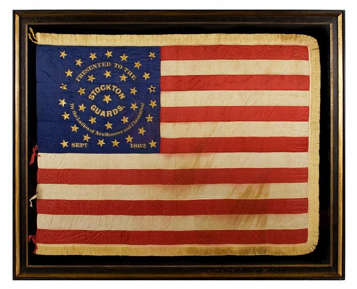 *34 STAR, CIVIL WAR PRESENTATION BATTLE FLAG OF THE STOCKTON GUARDS ~ of the 12th New Jersey Volunteers