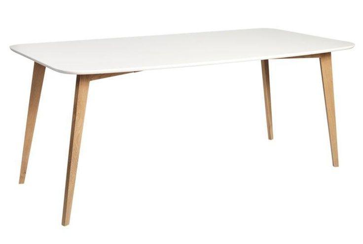 Link+Spisebord+-+Hvid+-+180x90+-+Langt+spisebord+i+nordisk+look+med+hvidlakeret+bordplade+og+ben+i+matlakeret+egetræ.+Anvend+spisebordet+i+den+moderne+spisestue+og+kombiner+med+Link+spisebordsstole+og+fuldfør+den+enkle+nordiske+stil.