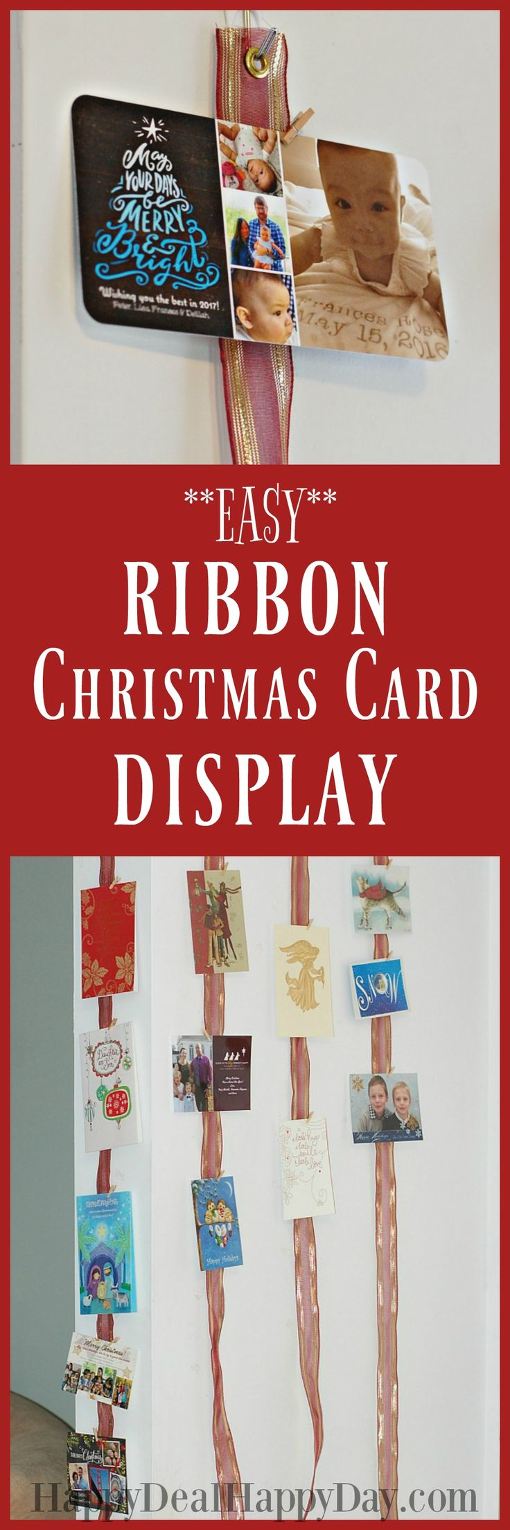 Hometalk diy christmas window decoration - How To Make A Ribbon Christmas Card Display Christmas Card Displaydiy Christmas Decorationsholiday