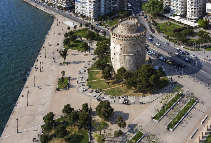 Aerial view of the White Tower square, Thessaloniki