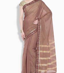 Buy Brown jaquard weave cotton saree cotton-saree online