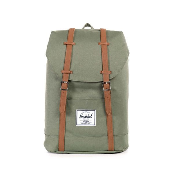 "Herschel Khaki Retreat Backpack: Founded in 2009 by brothers Jamie and Lyndon Cormack, Herschel Supply Co. adopted the name of the town where three generations of their family grew up. Based in Vancouver, Canada, Herschel Supply Co. is a design driven global accessories brand that produces quality products with a fine regard for detail. The retreat, perfect working companion with a 15.5"" laptop sleeve."