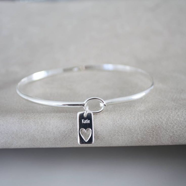 Sterling Silver Heart Name Bangle