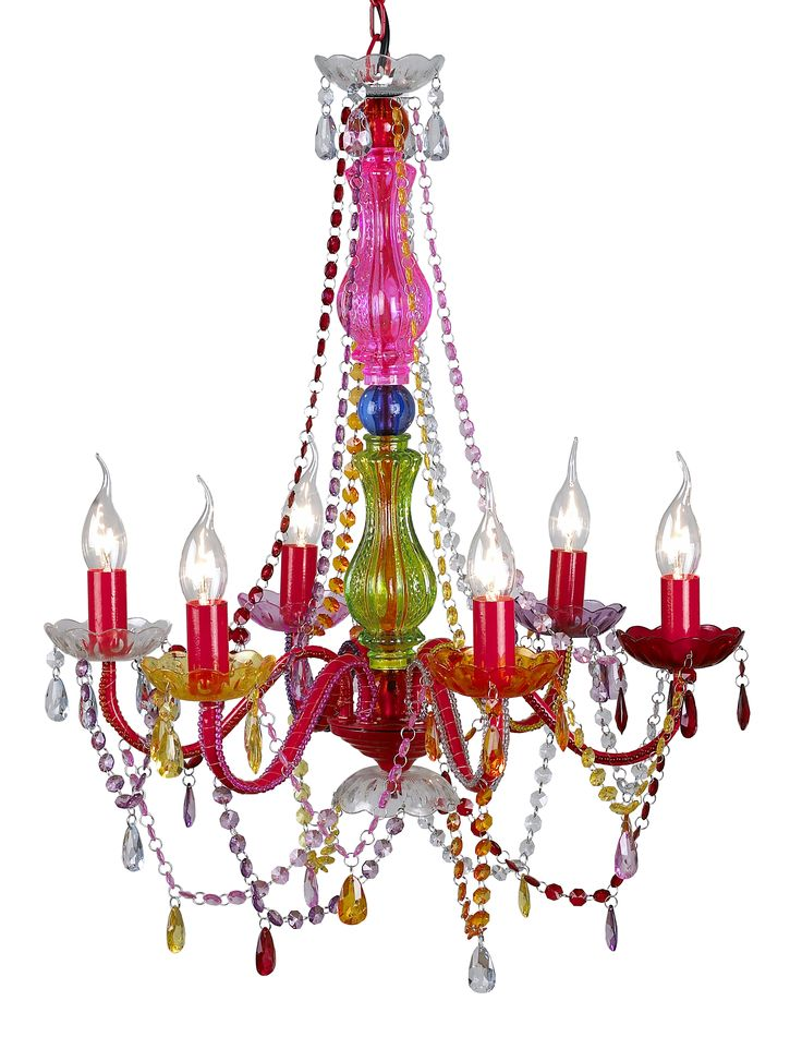 This charming multi coloured c Retro Gypsy chandelier will add gorgeous character to any room. It is made from coloured acrylic crystals and cups, glass center post and painted metal arms, which make the light much more eye catching than those whole Acrylic Gypsy chandelier. The size is 60cm wide and 56cm high + 40cm ceiling chain.It suits a hallway, living room, dining room, boutique, boudoir, bedroom... This stunning chandelier will also brighten up any boutiques, bars or restaurants.