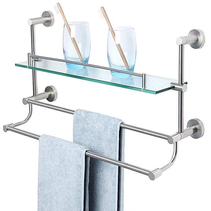 Alise Bathroom Shelf Sus 304 Stainless Steel Shower Glass Shelf With Double Towel Bar Rail Towel Rack Wall Glass Shower Bathroom Shelves Bathroom Wall Shelves