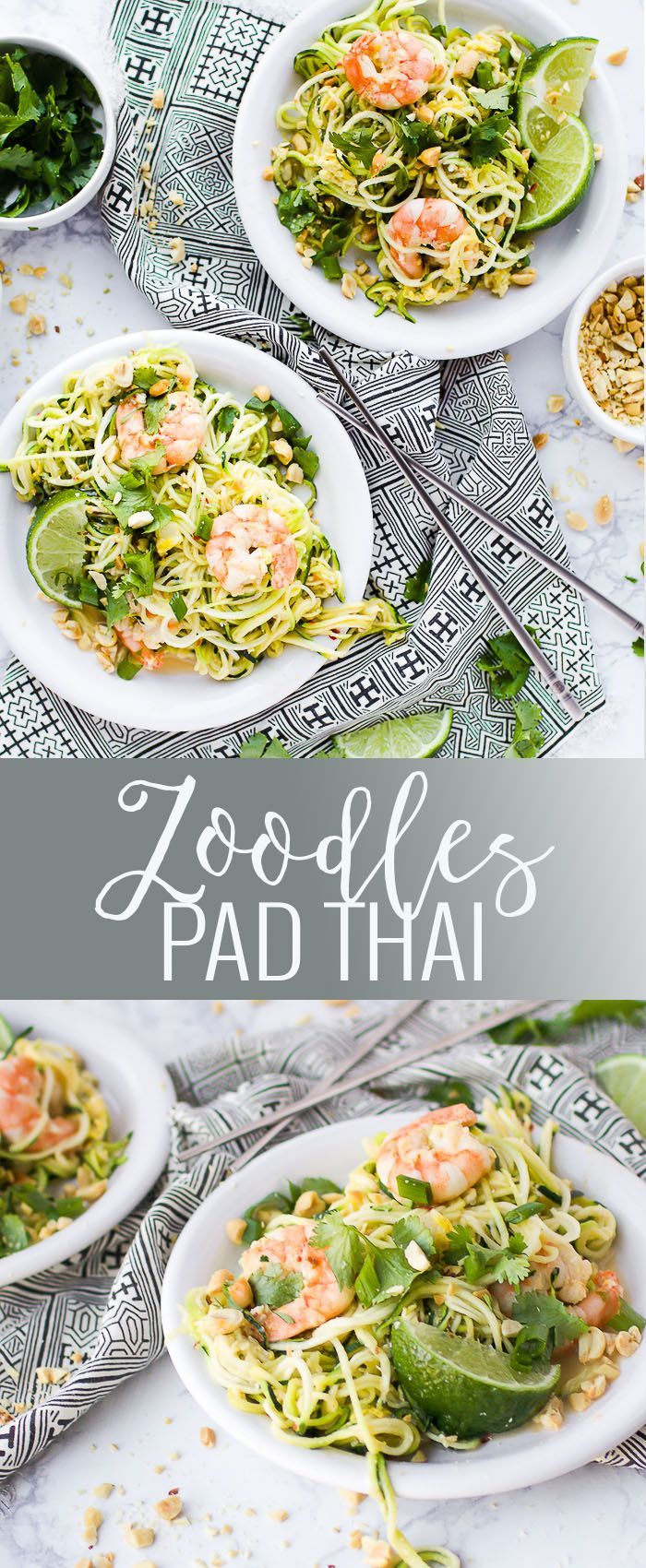 Zoodles Pad Thai | zucchini noodle recipes | pad thai recipes | healthy pad thai recipes | healthy recipes using shrimp | how to make healthy pad thai | homemade zoodle recipes | healthy dinner recipes | healthy noodle alternatives || Oh So Delicioso