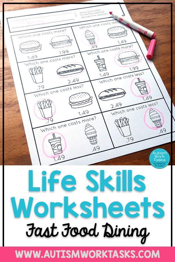 Life Skills Worksheets Fast Food Restaurants Special Education Life Skills Special Education Worksheets Autism life skills worksheets