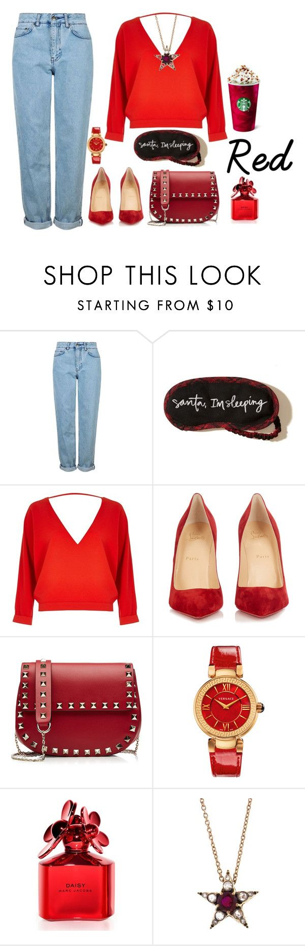 """#Red"" by aria-star ❤ liked on Polyvore featuring Topshop, Hollister Co., River Island, Christian Louboutin, Valentino, Versace, Marc Jacobs, Selim Mouzannar, StreetStyle and red"