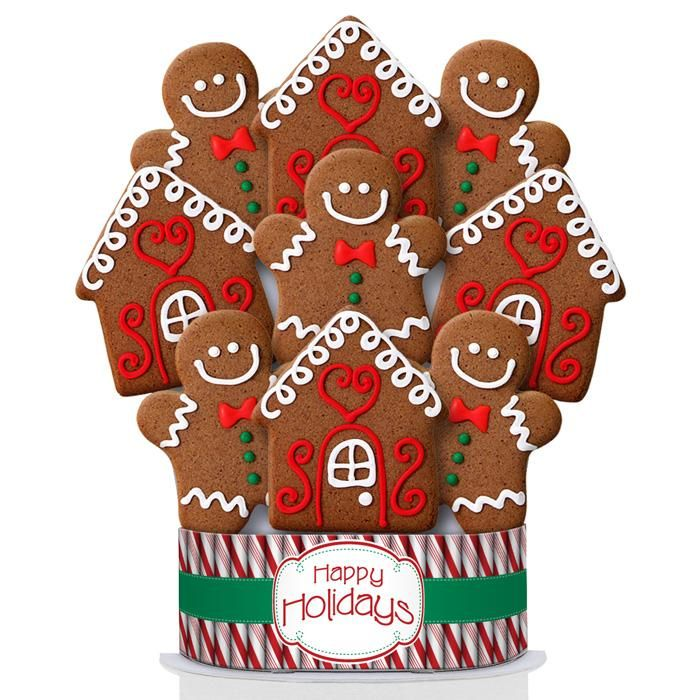 Happy Holidays Gingerbread 9 Cookie Bouquet