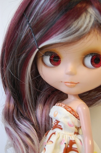 "Elegant Highlighted Red Curly Wig 12"" Blythe Dolls New 