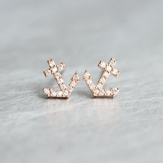 Swarovski Micro Pave Tiny Anchor Stud Earrings Rose Gold from kellinsilver.com
