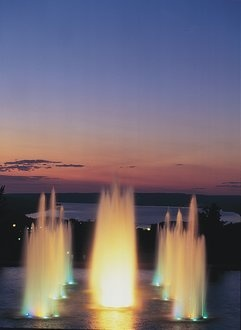 my favorite view from Ithaca College campus - the fountains with cayuga lake in the backdrop.