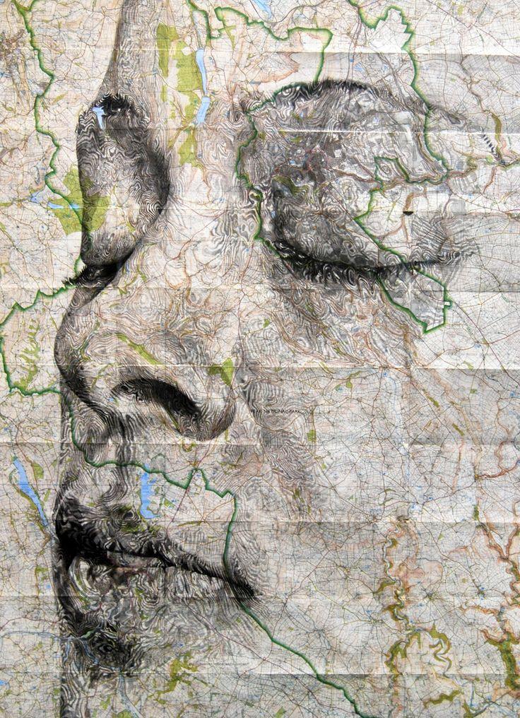 Elaborate New Portraits Drawn on Vintage Maps by Ed Fairburn portraits maps drawing