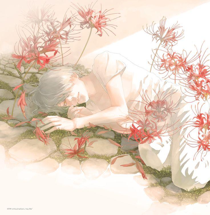 Re°, T-shirt, Asymmetrical Bangs, On Side, Side Bangs, Red Flower
