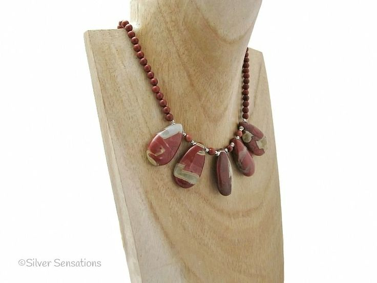 Red River Jasper Teardrop Pendants Necklace With Sterling Silver from Silver Sensations. This unique pendant bib necklace is reddish brown in colour & has a bolt ring clasp. Elegance from UK. - £20.00 + P & P