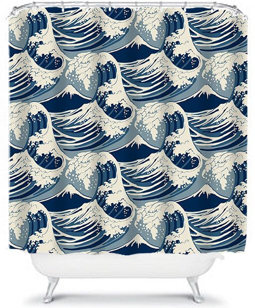 Cool Nautical Blue Waves Shower Curtain Ocean Home Decor Beach House Decor Bathroom Shower Curtains by xOnceUponADesignx on Etsy https://www.etsy.com/listing/234902775/cool-nautical-blue-waves-shower-curtain