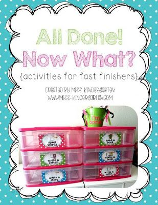 """Miss Kindergarten - """"All Done! Now What?"""" Station for fast finishers..."""