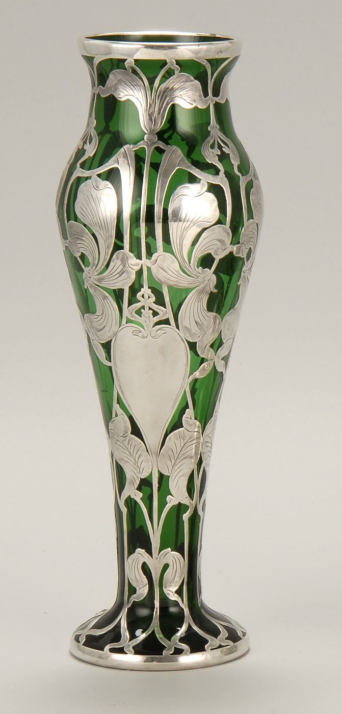sterling silver overlay emerald green glass vase early 20th century probably by gorham or alvin. Black Bedroom Furniture Sets. Home Design Ideas