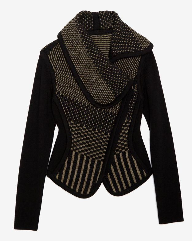 LOVE this. Can't afford it but would love a similar structured but soft moto-style sweater jacket.