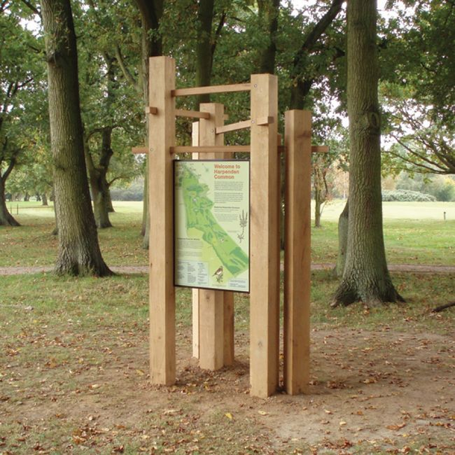 Wooden interpretation signage in country park settings