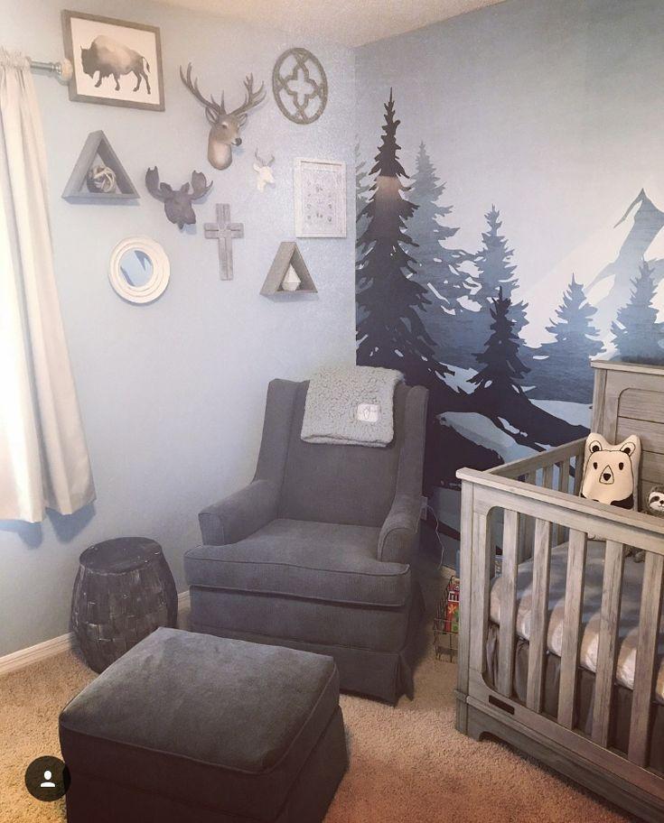Baby Kinderzimmer Junge Blaue Hirsche Schaukelstuhl Osmanischen