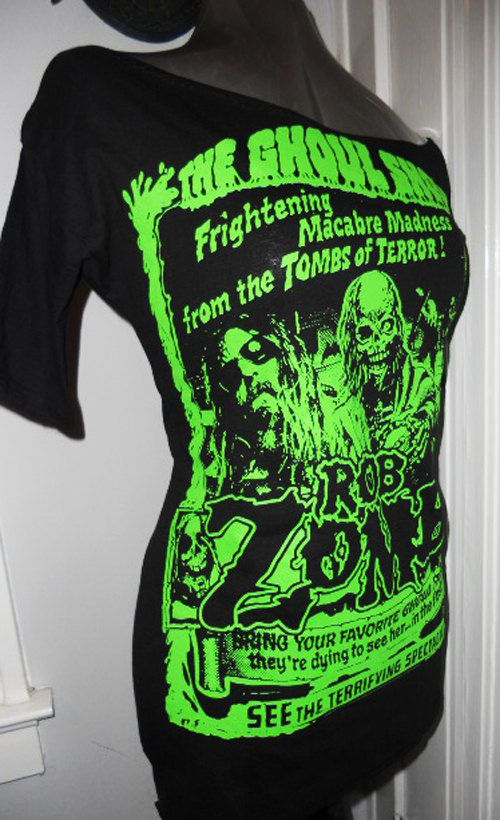 Boat neck 1/2 sleeves ROB ZOMBIE DIY green ghoul ladies band shirt heavy metal horror shirt.