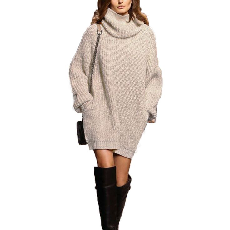 Find More Pullovers Information about European Knitted Pullovers 2017 New Winter Women Sweater Turtleneck Sweaters Long Sleeve Loose Casual Knitwear Dress,High Quality sweater dress girl,China sweater dresses fall Suppliers, Cheap sweater dress cashmere from VVIV Store on Aliexpress.com