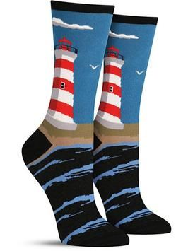Nautical socks with a lighthouse scene