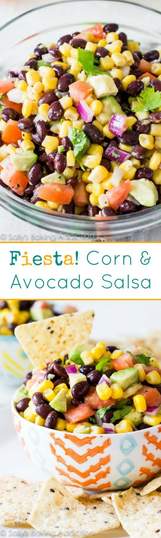 Fiesta Corn & Avocado Salsa: aaddicting corn salsa packed with avocado, black beans, cilantro, and plenty of flavor! A fiesta in a bowl, if you will!