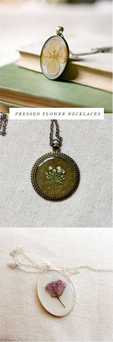 pressed flower necklaces by Studio Botanica :: oh, how i would love to get some resin and such to make these beauties~~ <3