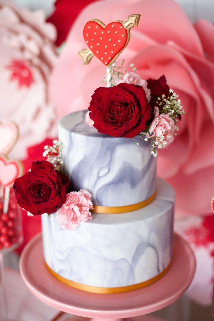 Elegant Valentine S Day Dessert Table Kara S Party Ideas Valentines Day Cakes Valentines Day Desserts Valentine Desserts