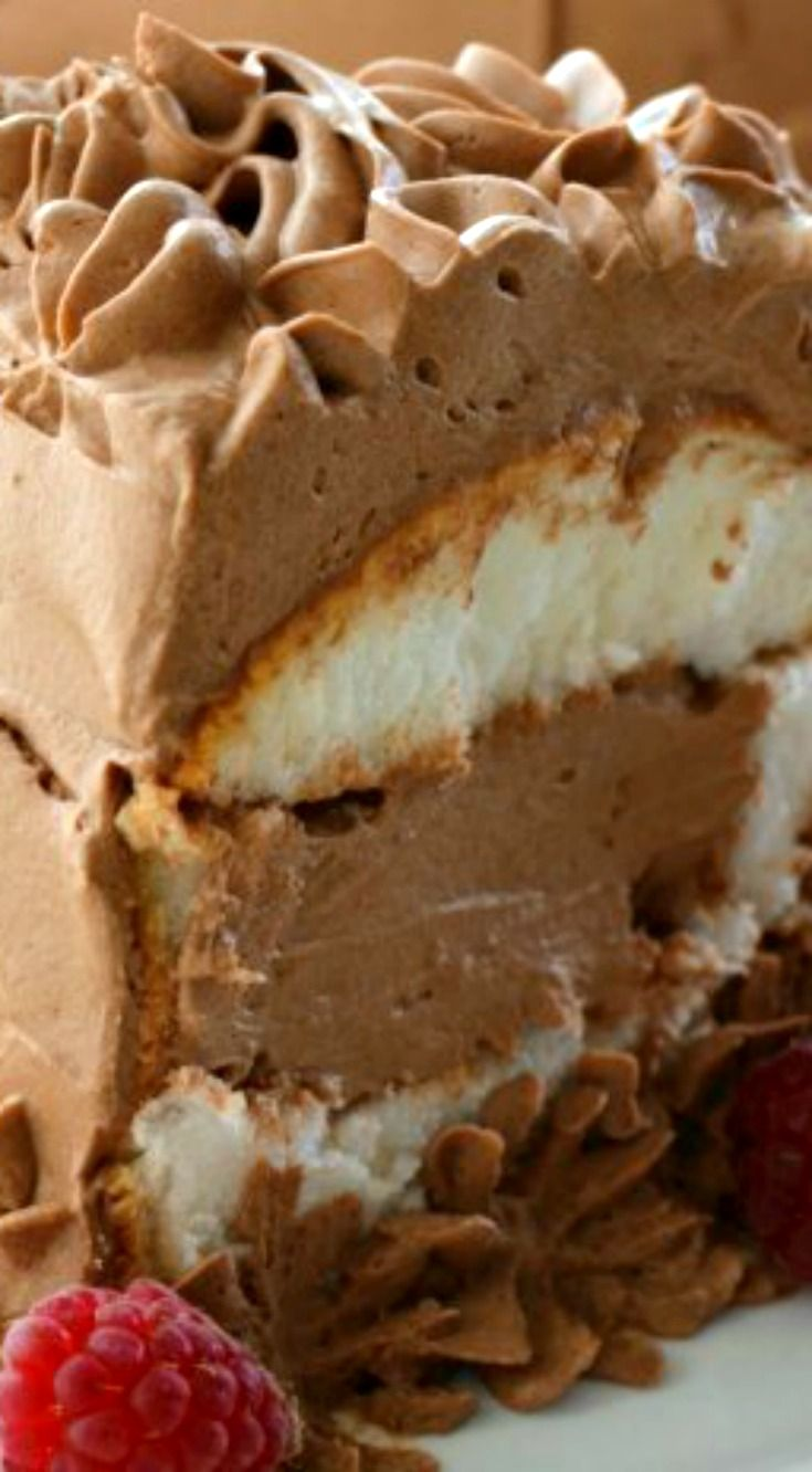 French Silk Angel Food Cake ~ It's smooth, creamy, and is as light and fluffy as a cloud... It truly is Heavenly!