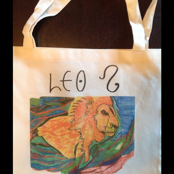 LEO zodiac tote bag by American Apparel! ☺️ Hey, what's your sign? Hand drawn , original design screened on 50/50 cotton poly tote by AA ! American Apparel Bags Totes