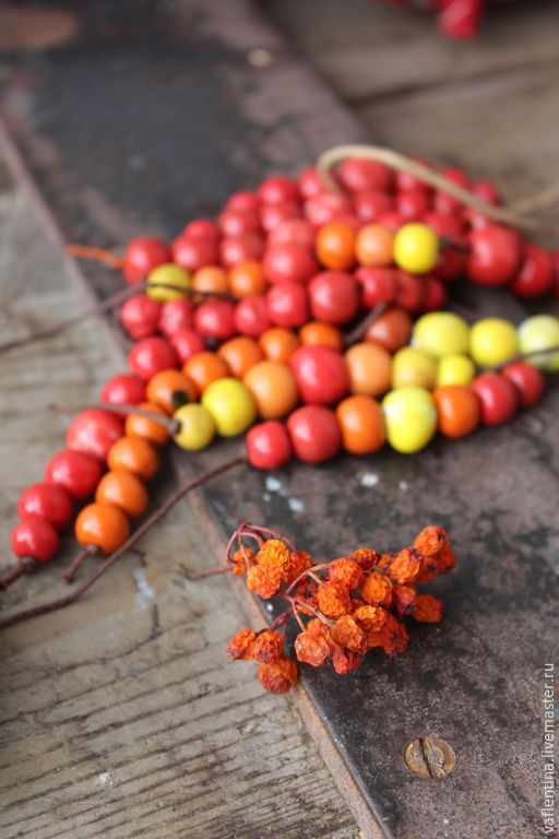 Купить остаток Наборы спелых осенних бусин - ярко-красный, красный, рыжий, оранжевый