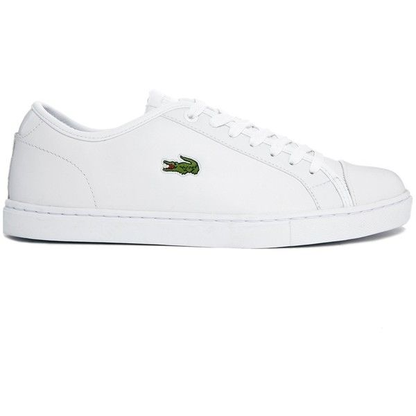 Lacoste Showcourt White Leather Trainers (€91) ❤ liked on Polyvore featuring shoes, sneakers, lacoste, white lace up shoes, lacoste shoes, lacing sneakers y leather shoes