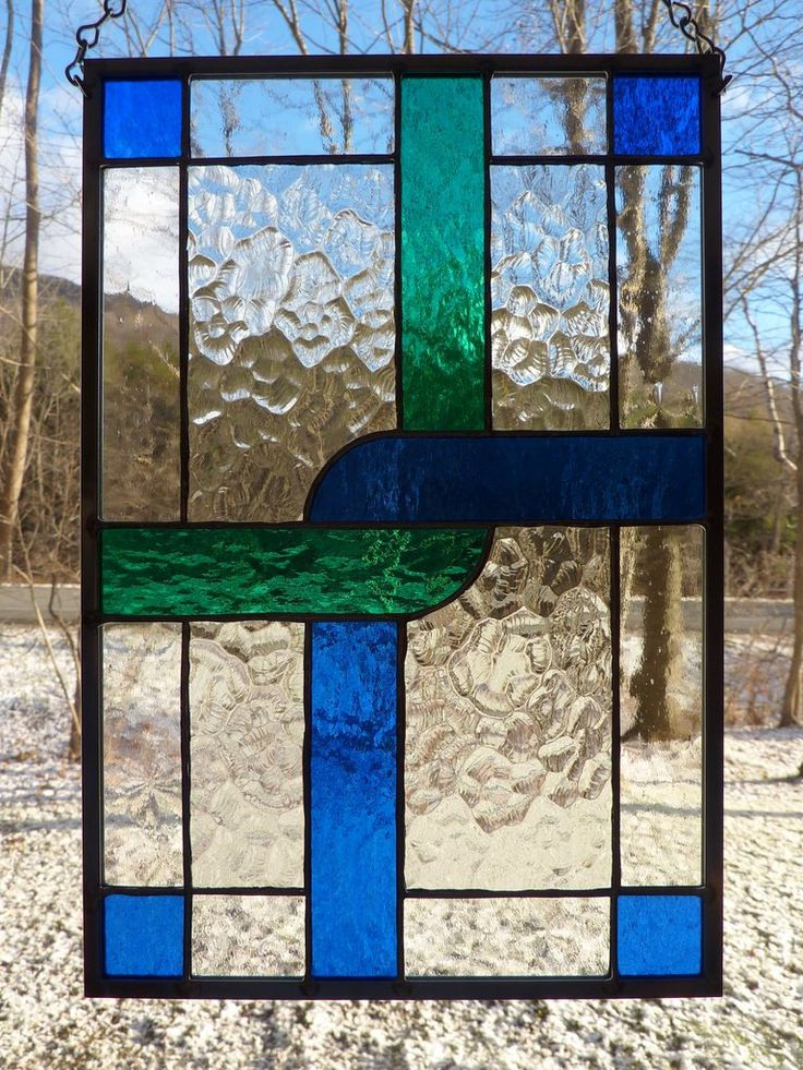 Stained Glass Panel Crossing Paths by WildwindsGlass on Etsy