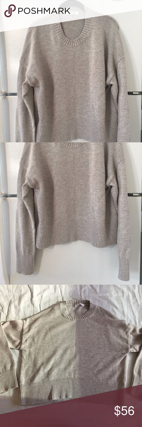 Everlane Gray Cotton Thick Crew Sweater Size Large A thick slightly oversized crewneck sweater made in a substantial yet breathable knit that easily transitions from warm days to cool nights.  Relaxed fit.  Measurements: 49 inch bust, 22 inch overall length  Material: 100% cotton  Hand wash cold, lay flat to dry  Made in Dongguan, China Everlane Sweaters Crew & Scoop Necks