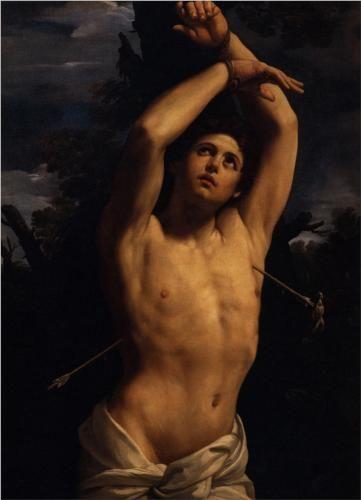 The Martyrdom of Saint Sebastian - Guido Reni.  1616.  Oil on canvas.  146 x 113 cm.  Boston Athenaeum, Boston, MA, USA.