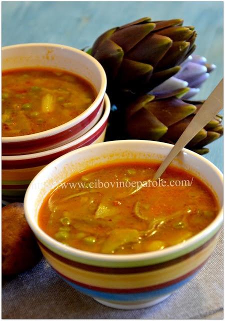Zuppa carciofi e piselli .. Artichoke and green peas soup