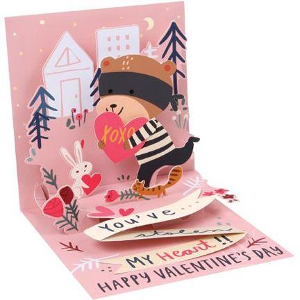 Pop-Up Treasures Greeting Card - Stole My Heart Bear