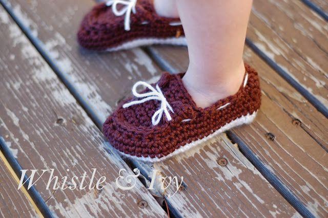 Toddler Boat Slippers Free Crochet Pattern via Hopeful Honey..... Ermahgerd who is gonna make these for Harper?!?
