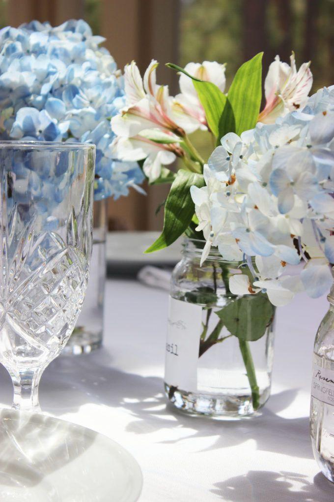 BLUE HYDRANGEAS TABLESCAPE FOR SUNDAYS EASTER DINNER: Simple Nature Decor