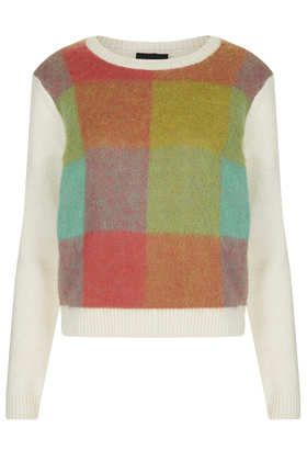 Knitted Brushed Check Jumper